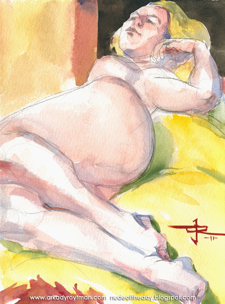 Julie, Reclining On Her Right Side, On A Yellow Cloth
