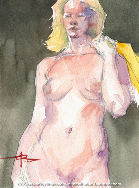 Julie, Standing In Contrapposto, Holding A Yellow Cloth Over Her Left Shoulder
