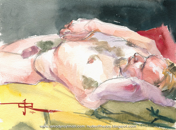 Christopher, Reclining On A Yellow Cloth, His Head Resting On His Left Arm