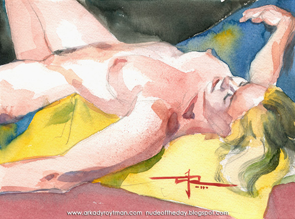 Julie, Reclining, Sprawled Out On A Yellow And Blue Cloth