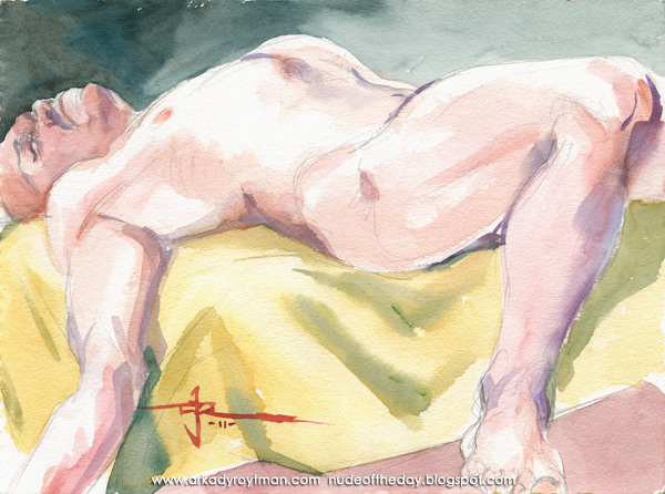 Jeff, Reclining On A Yellow Cloth, His Right Arm Draped Off To His Side