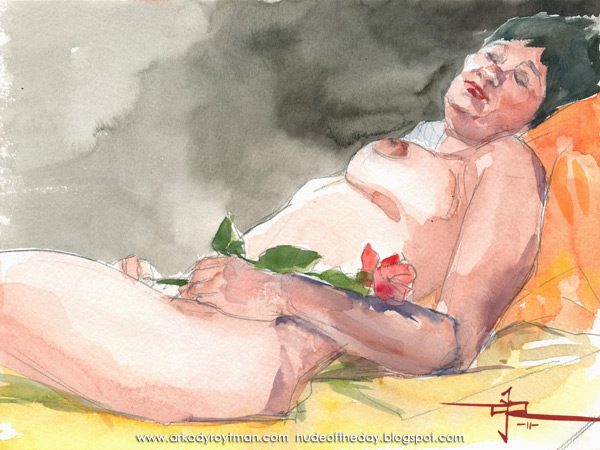 Stara, Reclining, Holding A Rose