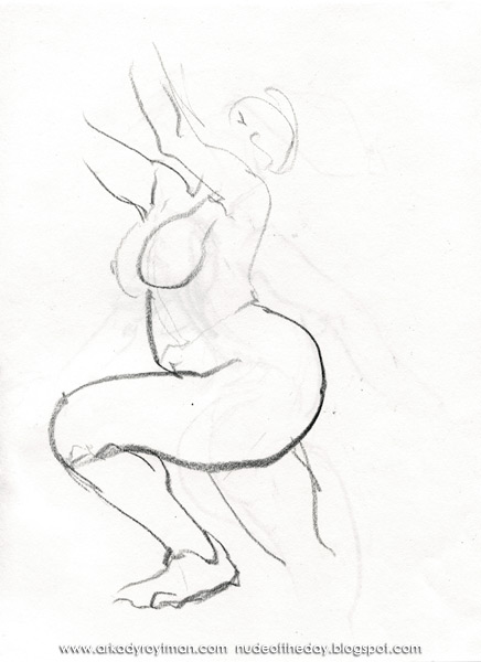 Female Nude, Leaning Forward, In Profile, Her Arms Raised