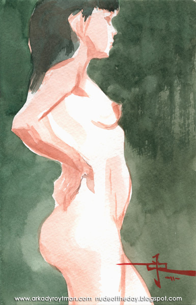 Female Nude, Standing In Profile, Her Hands Behind Her, Resting On Her Hips