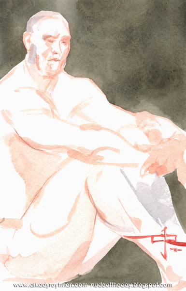Scott, Seated In Profile, His Arms Embracing His Legs