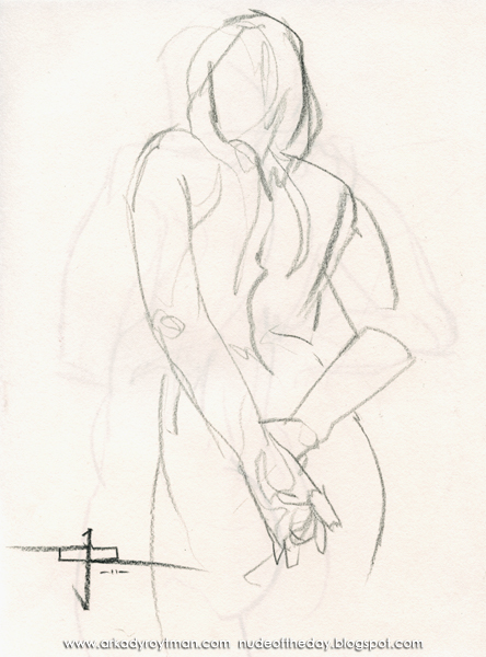Female Nude, Standing In Reverse, Her Hands Behind Her Back
