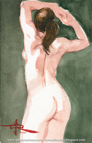Female Nude, Standing In Reverse, Her Arms Raised Above Her Head