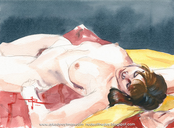 Colleen, Reclining On A Red And Yellow Cloth