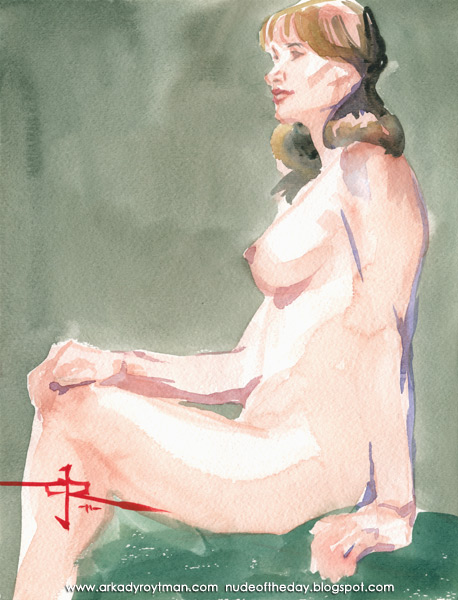 Colleen, Seated In Profile, Her Right Hand Resting On Her Left Knee