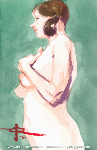 Colleen, Standing In Profile, Her Left Hand Resting On Her Chest