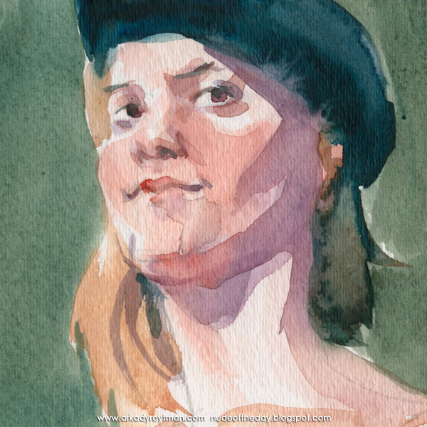 Monnica, Standing In Semi-Profile, Wearing A Black Beret (Detail)