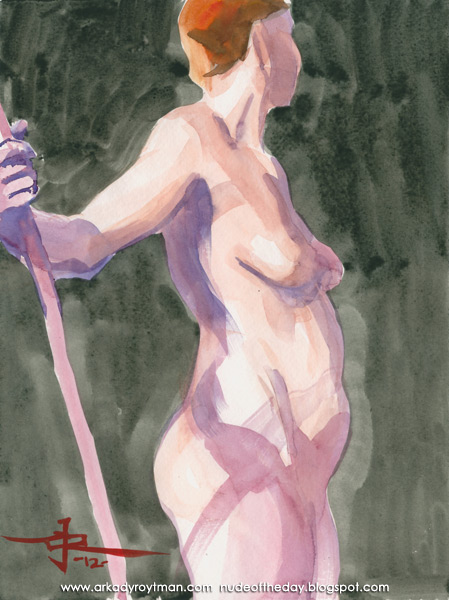 Monnica, Standing In Profile, Holding A Bamboo Stick In Her Outstretched Right Arm