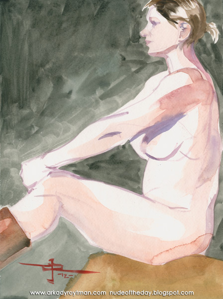 Monnica, Seated In Profile, Her Hands Resting On Her Knees