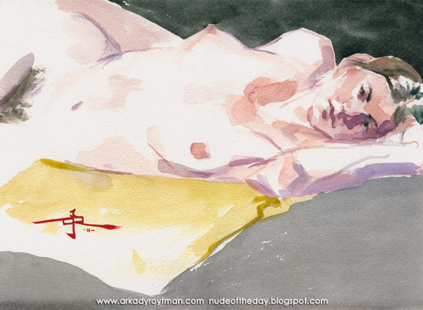 Samantha, Reclining On Her Left Side, On A Yellow Cloth
