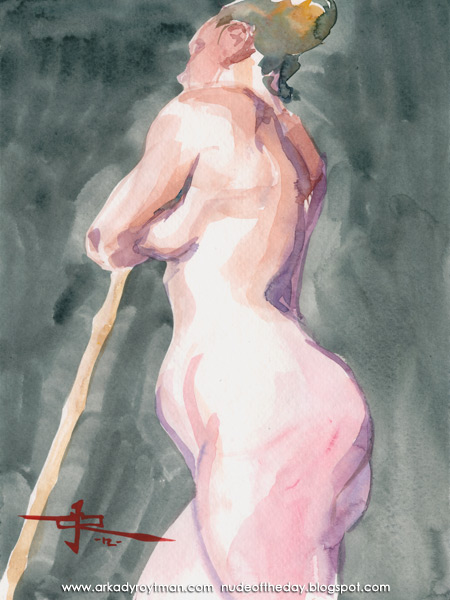 Jenna, Standing In Profile, Leaning On A Bamboo Stick