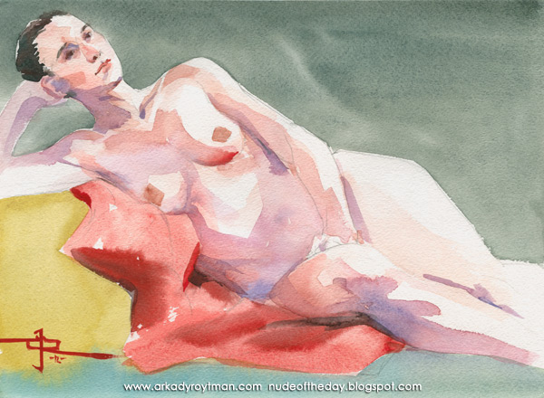 Kayla, Reclining On A Red Cloth, Resting Her Head In Her Right Hand