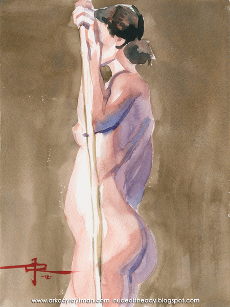 Sarah, Standing In Profile, Holding A Bamboo Stick In Her Left Arm