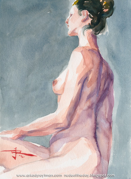 Sarah, Seated In Profile, Twisting Her Torso Toward Her Right Side