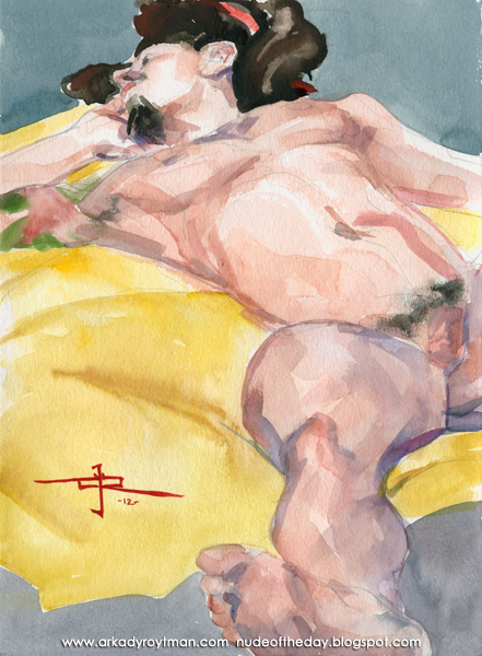 Adolfo, Reclining, Sprawled Out On A Yellow Cloth II