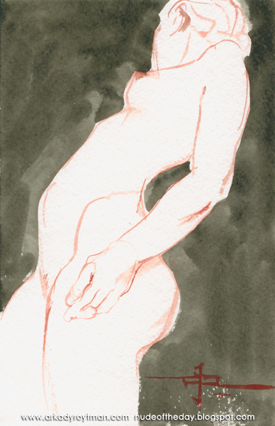 Female Nude, Standing In Profile, Leaning Back As She Looks Away