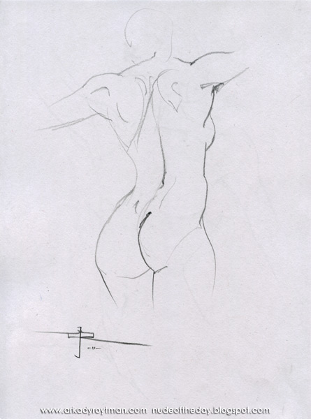 Female Nude, Standing In Reverse, Her Arms Outstretched