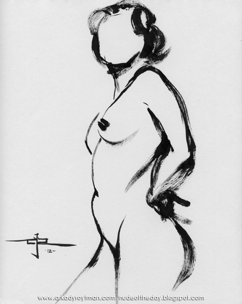 Sarah, Standing In Profile, Her Left Hand Resting On Her Hip