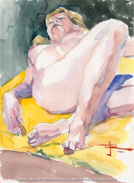 Julie, Reclining On A Yellow Cloth, Her Right Arm At Her Side