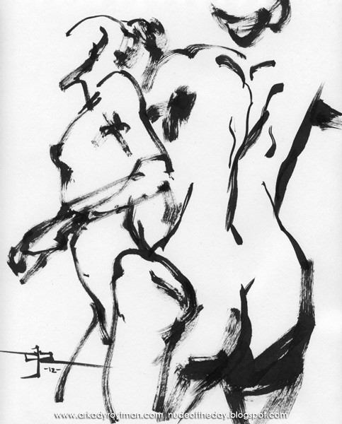 Study Of Two Standing Female Nudes, One In Profile And One In Reverse