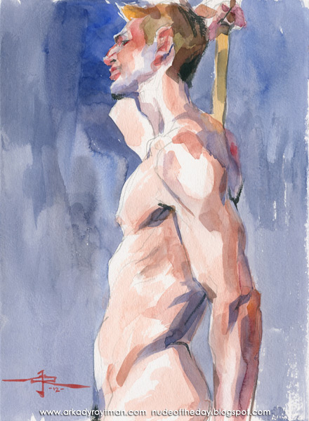 Aaron, Standing In Profile, Holding A Bamboo Stick Behind His Back