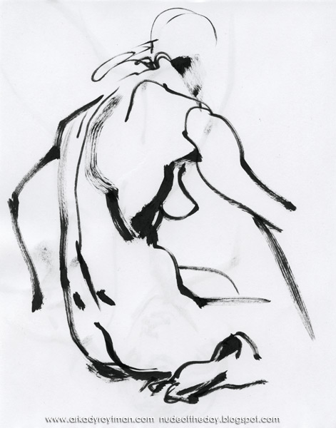 Female Nude, Seated In Profile And Reverse, Her Arms Extended At Her Sides