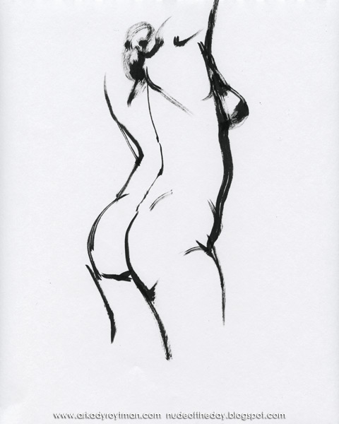 Female Nude, Standing In Profile And Reverse, Her Arms Raised Above Her Head I