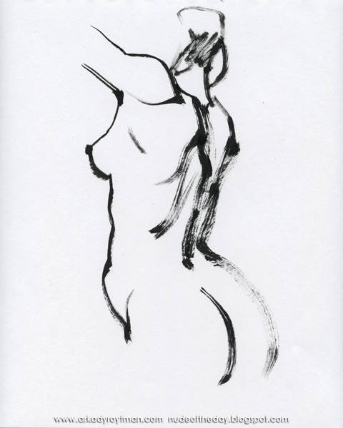 Female Nude, Standing In Profile And Reverse, Her Arms Raised Above Her Head II
