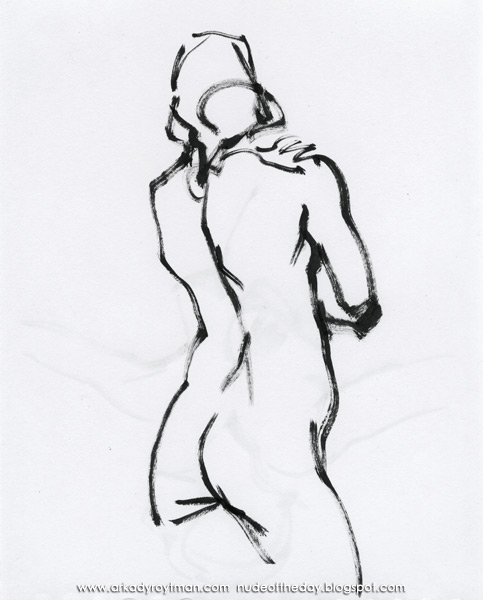 Female Nude, Standing In Reverse, Her Left Hand Resting On Her Right Shoulder