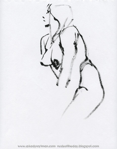 Female Nude, Standing In Profile, Acting Coy