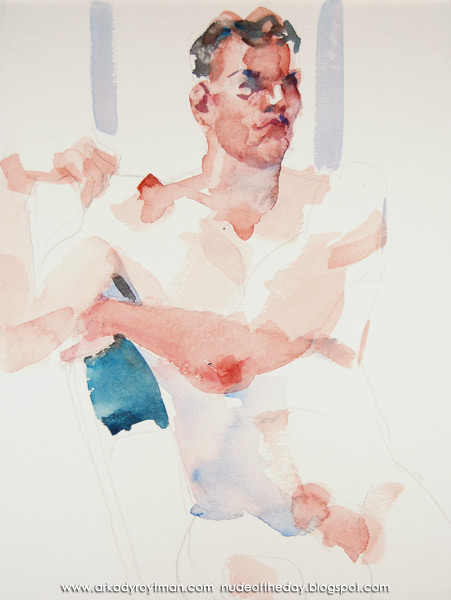 Male Nude, Seated, His Left Arm Stretched Across His Torso