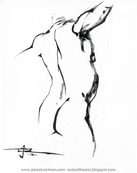 Male Nude (Scott), Standing In Reverse, His Arms Outstretched