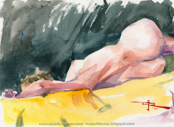 Julie, Reclining On A Yellow Cloth, In Reverse