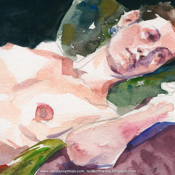 Kayla, Reclining On Her Left Side, On A Green Cloth (Detail)