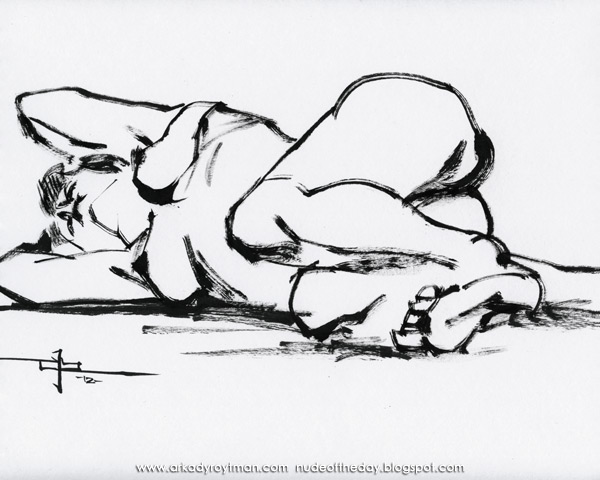Female Nude, Reclining On Her Left Side, Her Arms Behind Her Head