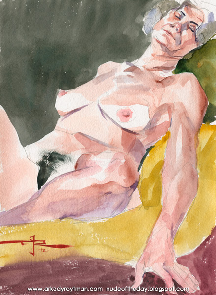 Beth, Reclining On A Yellow Cloth, Her Left Leg Tucked Under Her Right Thigh