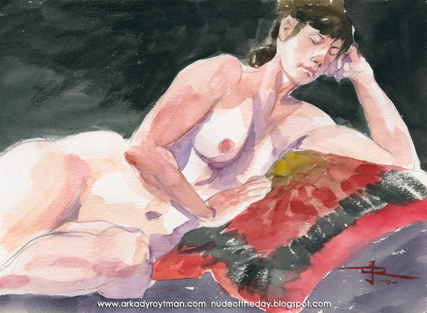 Ashley, Reclining On A Red Cloth, Her Head Resting In Her Left Hand