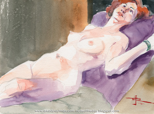 Jennifer, Reclining On A Violet Pillow, Looking Up