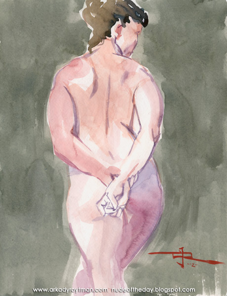 Female Nude, Standing In Reverse, Holding Her Hands Behind Her Back