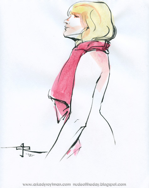 Emilie, Standing In Profile, Wearing A Pink Scarf