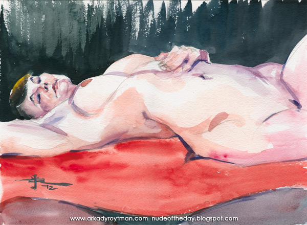 Liesa, Reclining On A Red Cloth