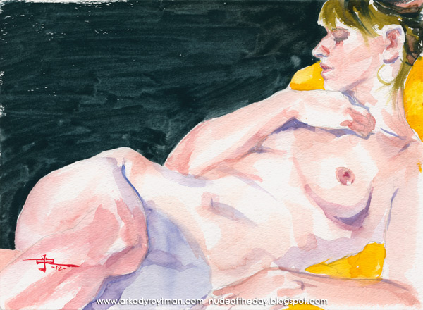 Ariel, Reclining On A Yellow Cloth, Her Right Hand Resting On Collarbone