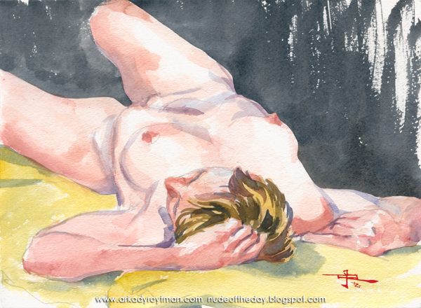 Valerie, Reclining On A Yellow Cloth, Her Legs Twisting To Her Left Side