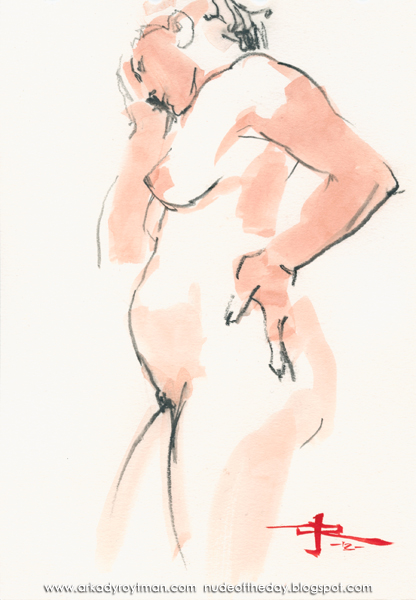Female Nude, Standing In Profile, Worried