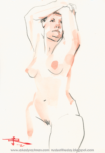 Female Nude, Standing In Semi-Profile, Her Arms Raised, Resting On Her Head