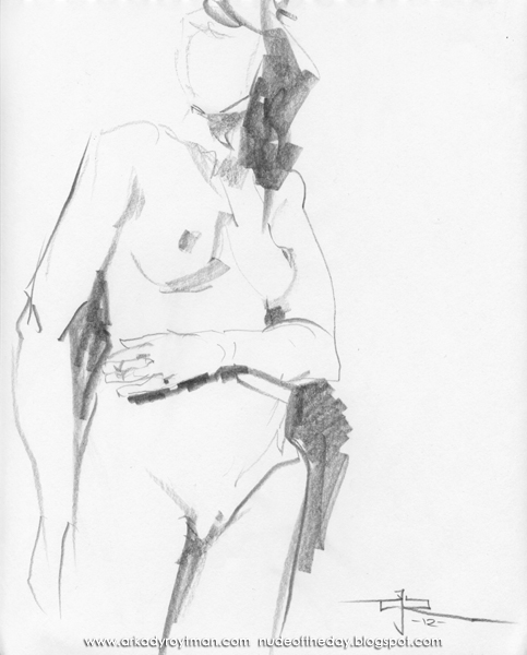 Standing Female Nude, Resting Her Left Hand On Her Stomach